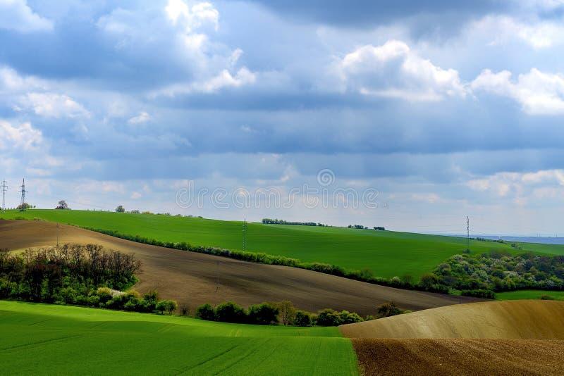 Paisajes muy hermosos en Moravia del sur, supuesto Moravian Toscana Colores en casi cada estación y grande asombrosos fotografía de archivo