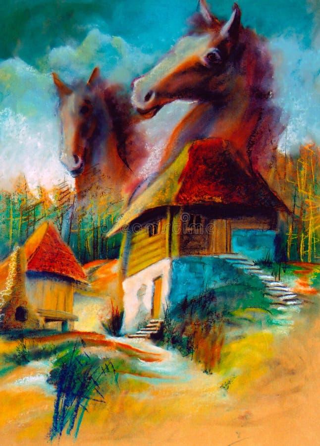Paisajes rurales de la imaginación stock de ilustración