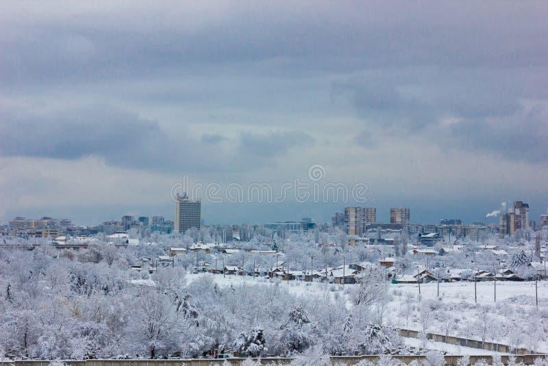 Paisajes urbanos del invierno de Sofía, Bulgaria imagen de archivo libre de regalías