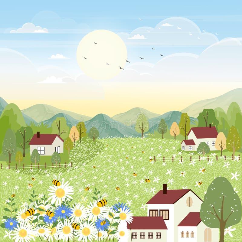Paisajes vectoriales de una tierna aldea de caricaturas en primavera con campo y abejas recogiendo polen en flores flor silvestre ilustración del vector
