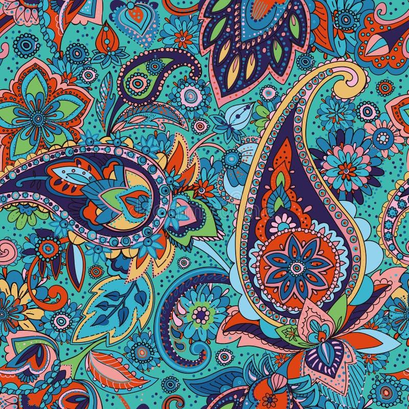 Paisley Πολύχρωμο σχέδιο στο ύφος του Paisley, βασισμένο στις παραδόσεις των ασιατικών σχεδίων απεικόνιση αποθεμάτων