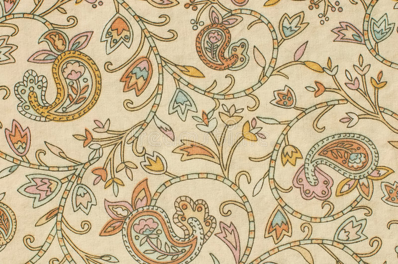 Paisley background. Colorful paisley print fabric background on a foundation of beige royalty free stock photography