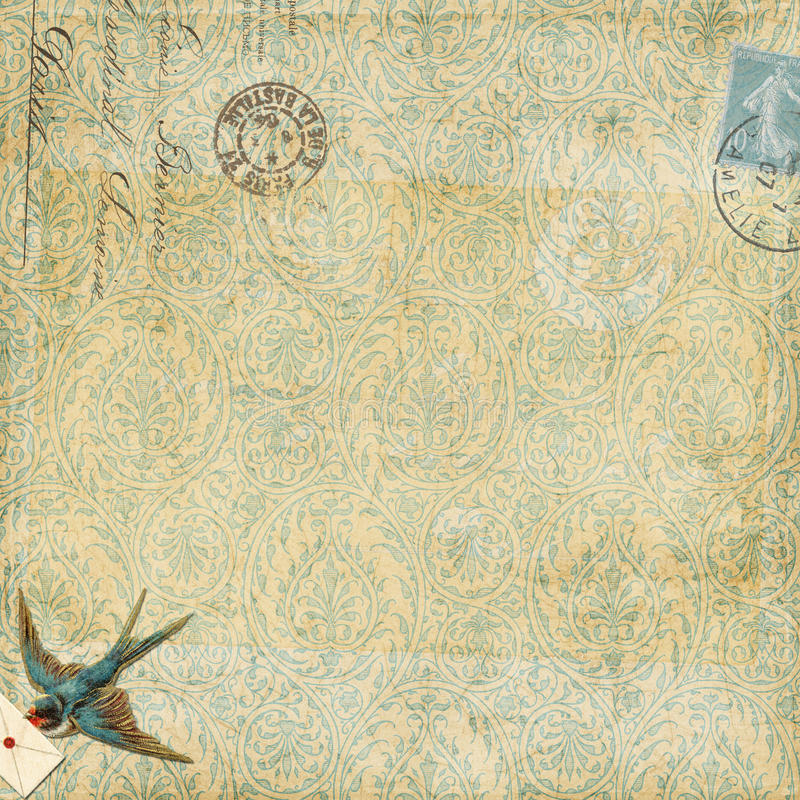 Paisley background vintage blue bird with letter. Striped background embellished with vintage blue bird with letter and french postal cancellation embellishments