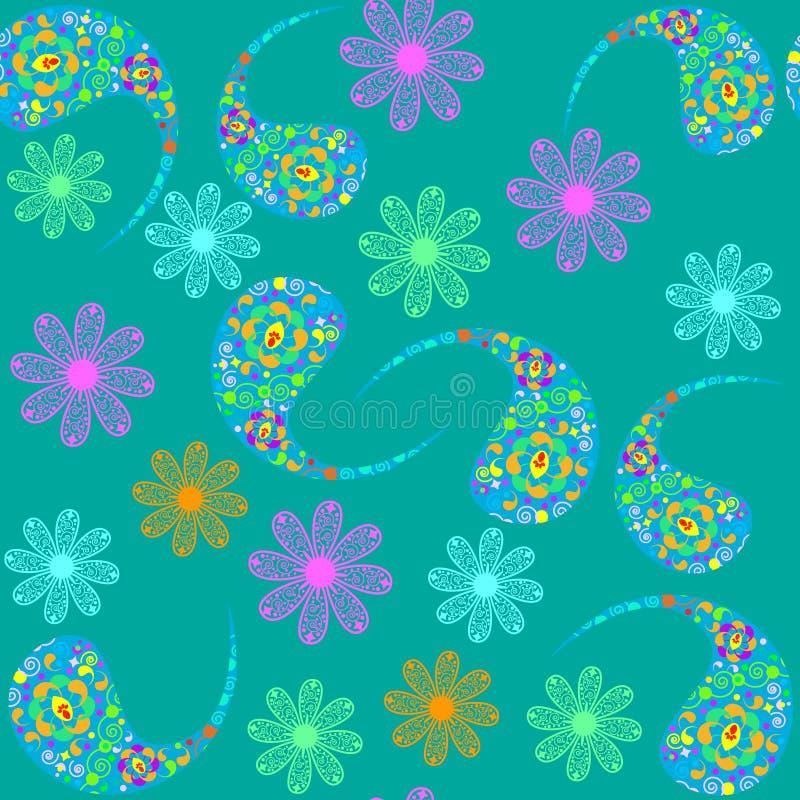 Paisley bezszwowy wzór i bezszwowy wzór w swatch, ilustracji