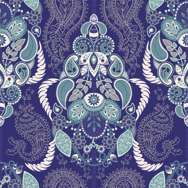 Paisley blom- sömlös modell indisk prydnad Dekorativa blommor och Paisley för vektor Etnisk stil Design för royaltyfri illustrationer