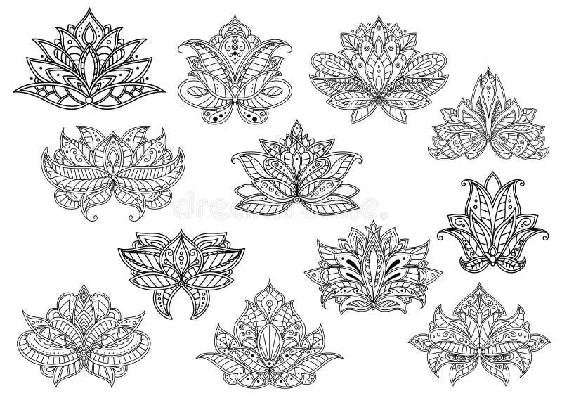 Paisley blommor med perser och den turkiska prydnaden vektor illustrationer
