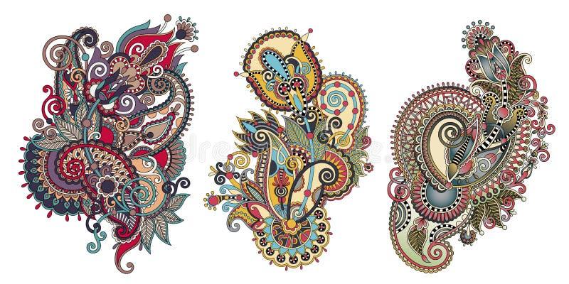 Paisley-Blumenmuster in der ethnischen Art, indisches dekoratives Blumen lizenzfreie abbildung