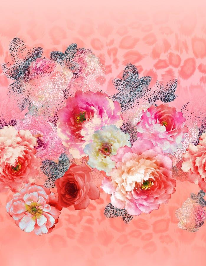 Paisley-Blumenmuster in der russischen Art Medaillon mit roter Mohnblume und hellblauen Blumen Kann als Weihnachtskarten verwende lizenzfreie abbildung