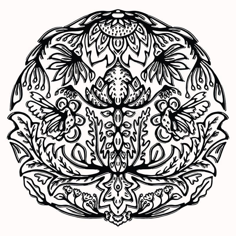 Paisley butterfly folk art graphic design element. Hand drawn gypsy floral linocut. Block print flower circle mandala motif. Black stock illustration