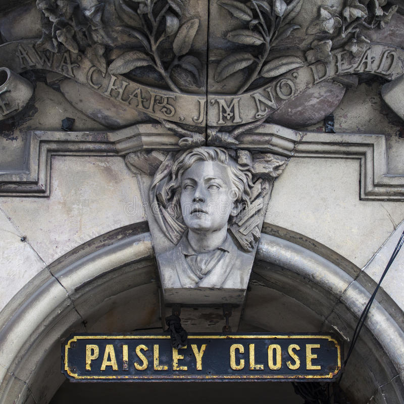 Paisley Close in Edinburgh. The street sign for Paisley Close in Edinburgh, Scotland royalty free stock photography