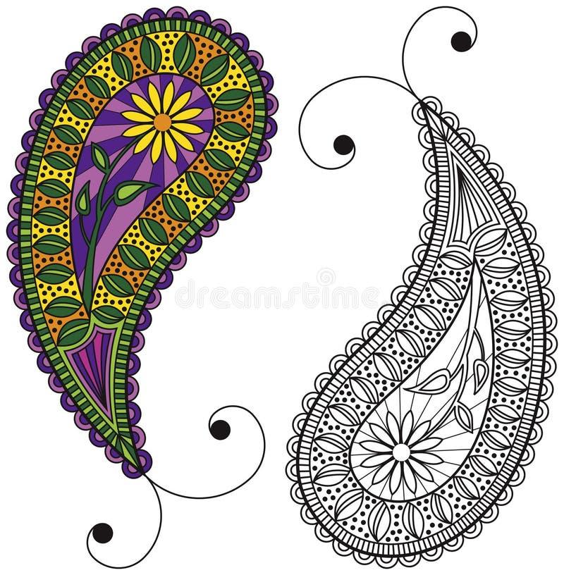 Paisley - coloré ou noir et blanc illustration stock