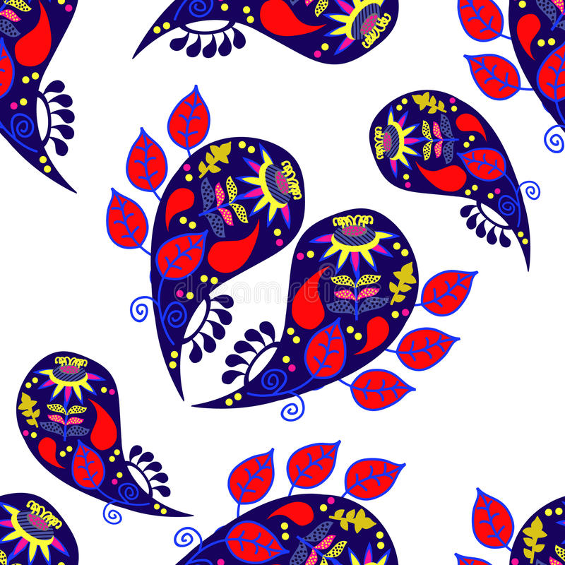 Paisley colorful seamless pattern and seamless pattern in swatch menu, illustration. Cute texture for design royalty free illustration