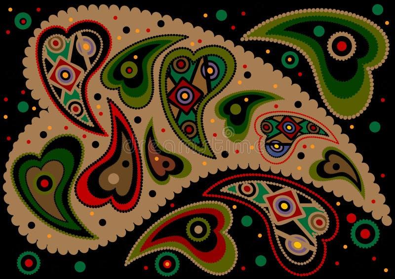 Paisley colorido em um fundo preto. Fundo ilustração royalty free