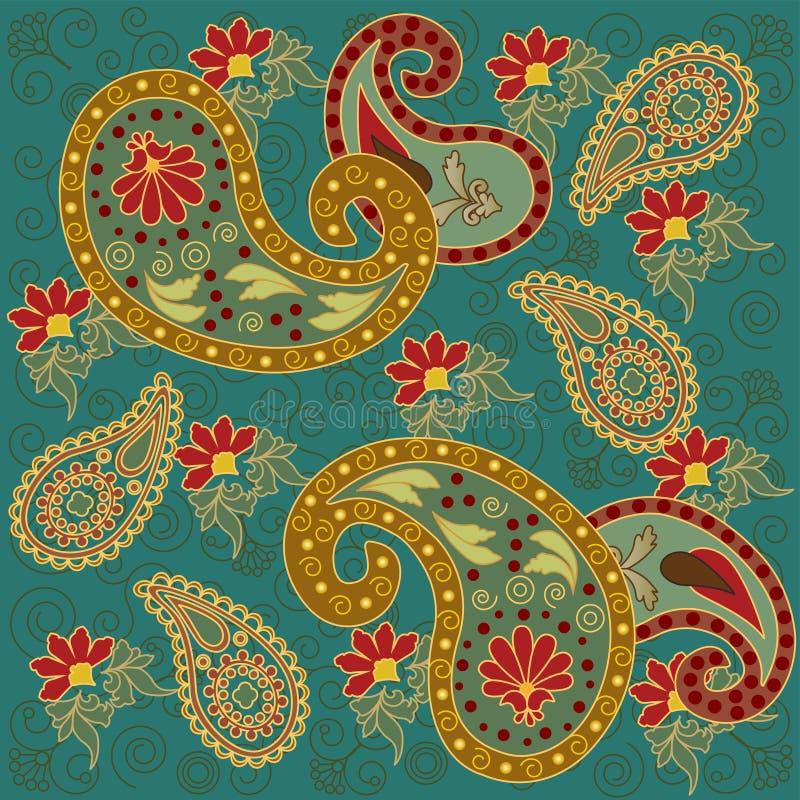 Paisley colorido no verde ilustração stock