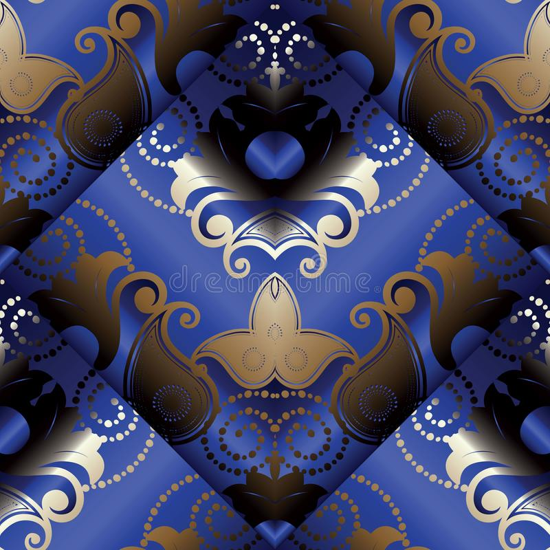 Paisley 3d seamless pattern. Vector dark blue floral background. stock illustration