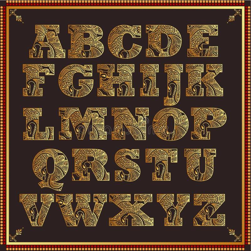 Paisley design alphabet stock illustration
