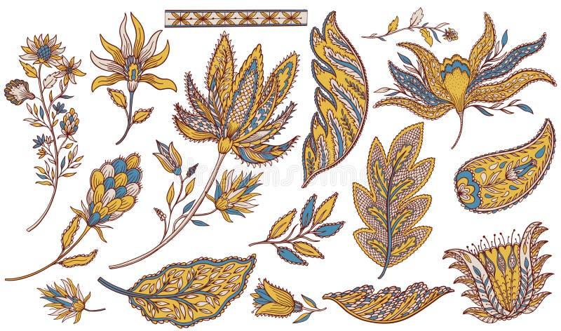 Paisley etnisk uppsättning Indisk beståndsdelgarnering Utdragen samling för orientalisk östlig hand Folk stil för tappning stock illustrationer