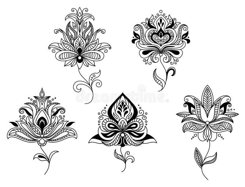 Paisley för elegant perser blom- beståndsdelar vektor illustrationer