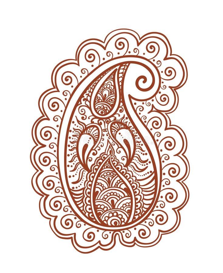 Paisley fleuri - conception indienne décorative de henné Vecteur oriental de Mehendi illustration libre de droits