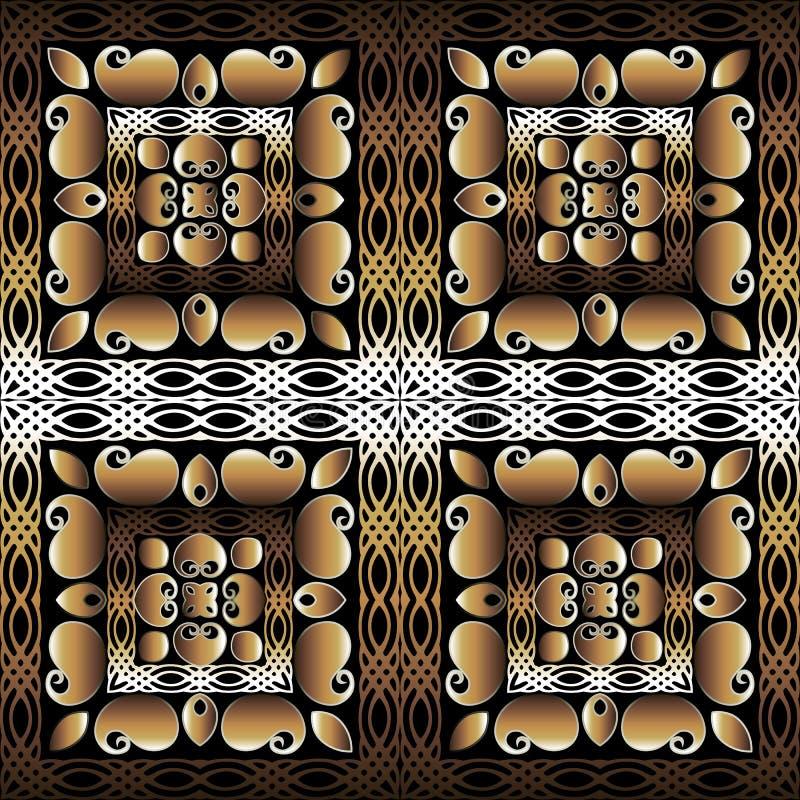 Paisley Floral — bezszwowy wzór 3d z kwadratowymi ramami ozdobnymi Koloryzujące tło w kolorze Ornata Powtórz ilustracja wektor