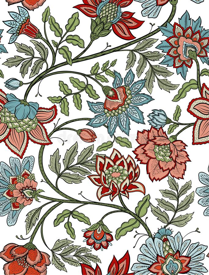 Paisley floral de Bohème sans couture - rouge et bleu illustration de vecteur