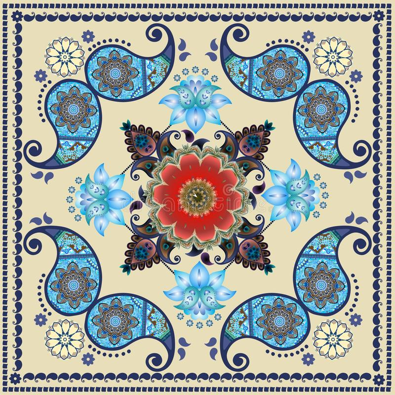 Paisley floral pattern in russian style. Medallion with red poppy and light blue flowers. Winter design. stock illustration