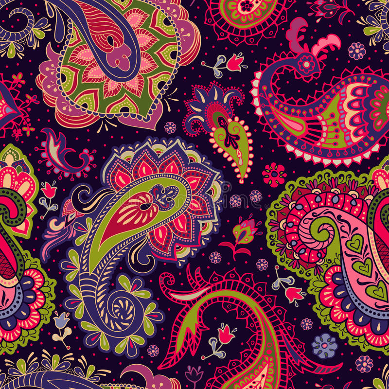 Paisley floral seamless pattern. Colorful seamless pattern stock illustration