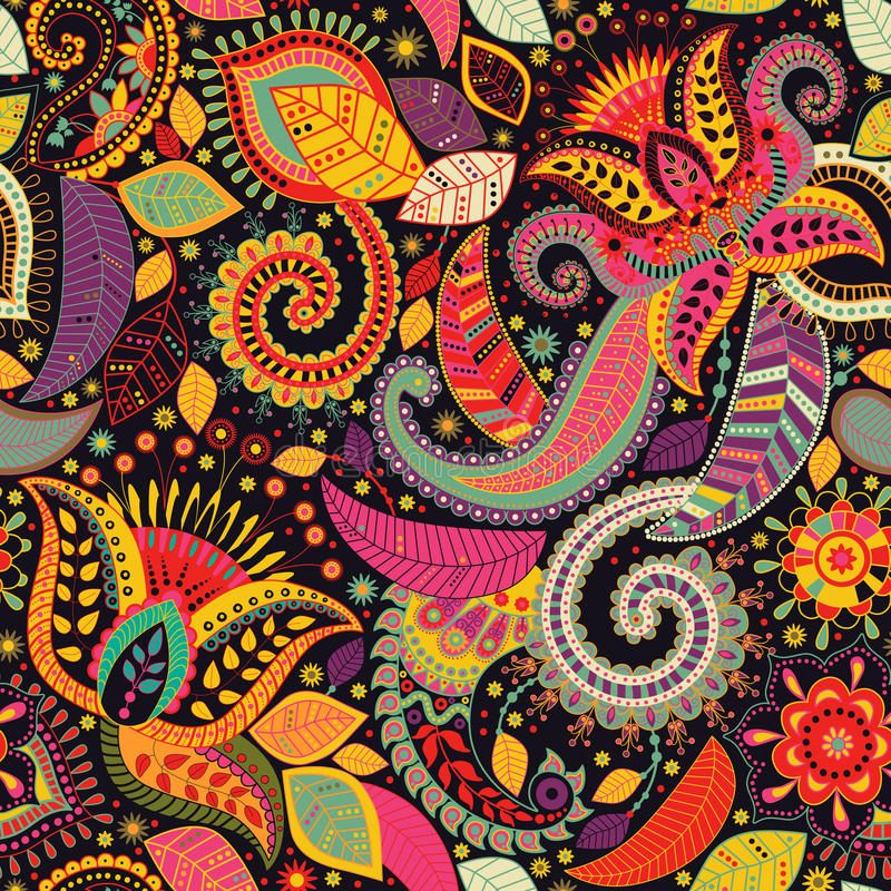 Paisley floral seamless pattern. Indian ornament. Vector decorative flowers and Paisley. Ethnic style. Design for vector illustration
