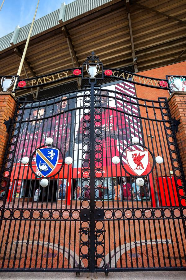 The Paisley Gateway in front of Anfield stadium. LIVERPOOL, UK - MAY 17 2018: The Paisley Gateway in front of Anfield stadium was unveiled on April 8th 1999 royalty free stock photos