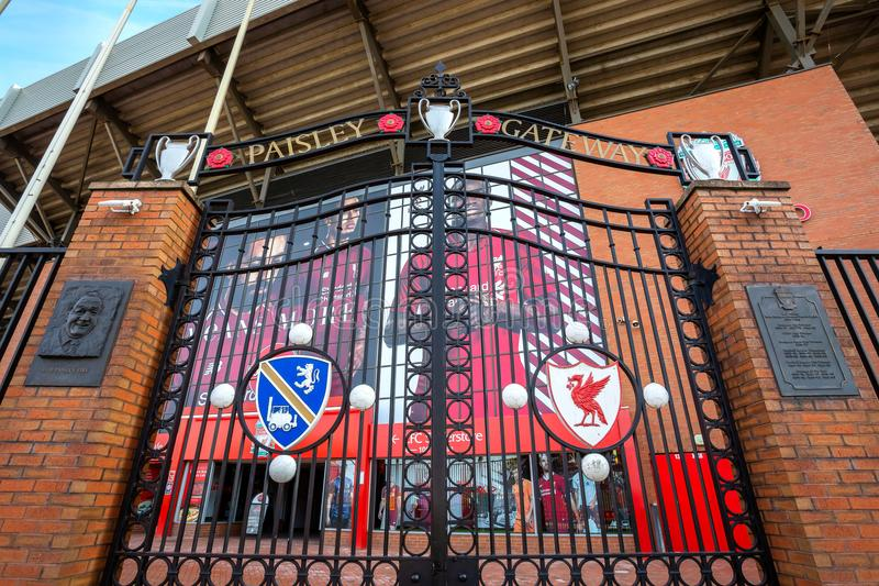 The Paisley Gateway in front of Anfield stadium. LIVERPOOL, UK - MAY 17 2018: The Paisley Gateway in front of Anfield stadium was unveiled on April 8th 1999 royalty free stock photography
