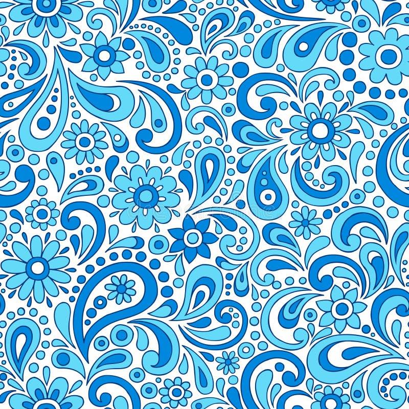 Swirly Henna Paisley Floral Seamless Pattern Vecto royalty free illustration