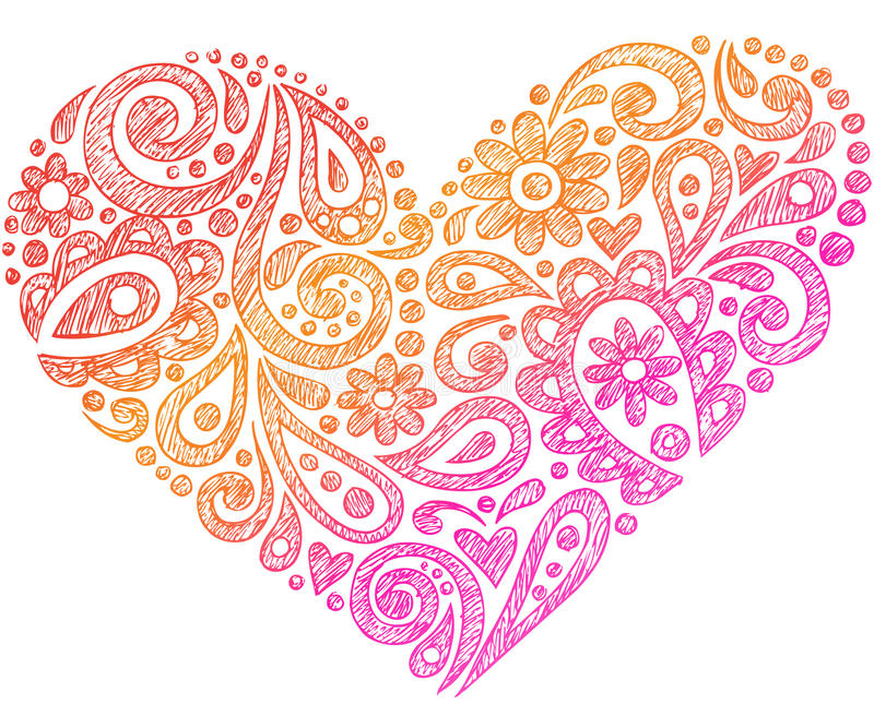 Paisley Henna Sketchy Notebook Doodle Heart royalty free illustration
