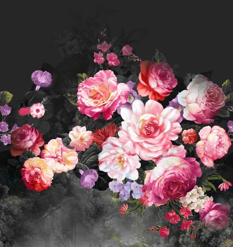 Paisley kwiecisty wzór w rosjanina stylu Medalion z czerwonym maczkiem i bławymi kwiatami Zima projekt zdjęcie stock