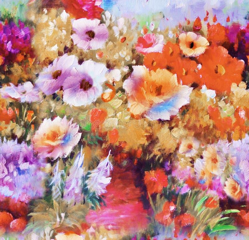 Paisley kwiecisty wzór w rosjanina stylu Medalion z czerwonym maczkiem i bławymi kwiatami Zima projekt royalty ilustracja