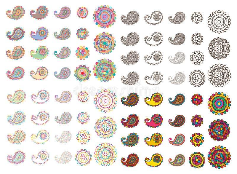 Paisley linje färguppsättning stock illustrationer