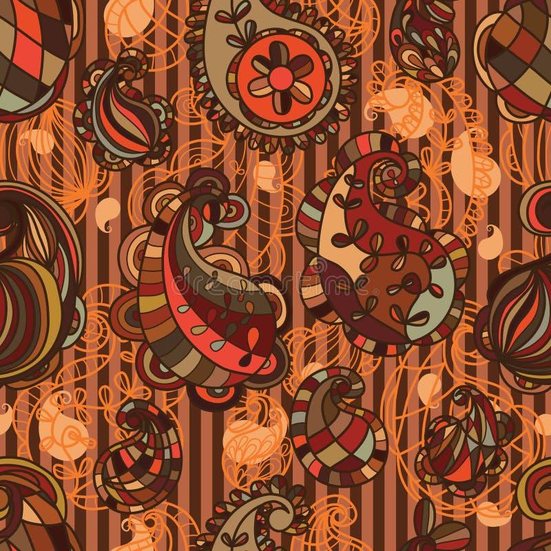 Paisley linje sömlös modell för brunt royaltyfri illustrationer