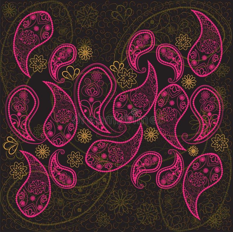 Paisley noircissent, dentellent, fond orange de papier peint Griffonnage, croquis, fleurs illustration libre de droits