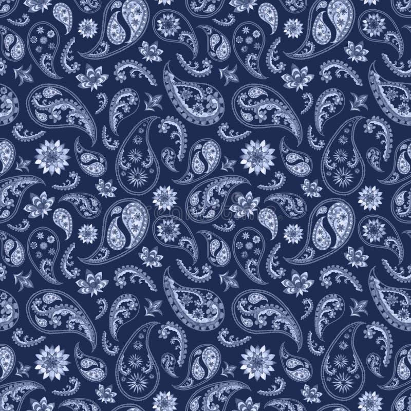Paisley orientalisk blå marinbakgrund royaltyfri illustrationer