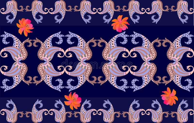 Paisley ornament and orange cosmos flowers in watercolor style isolated on dark blue background. Endless border in ethnic style. In vector royalty free illustration