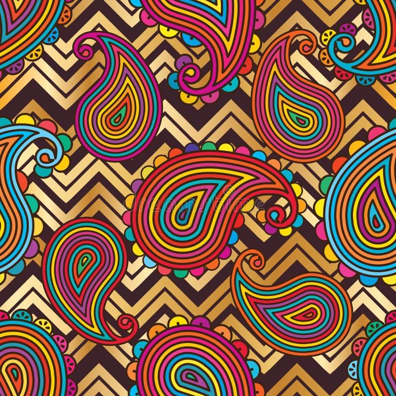 Paisley pastelowego szewronu jaskrawy bezszwowy wzór ilustracja wektor