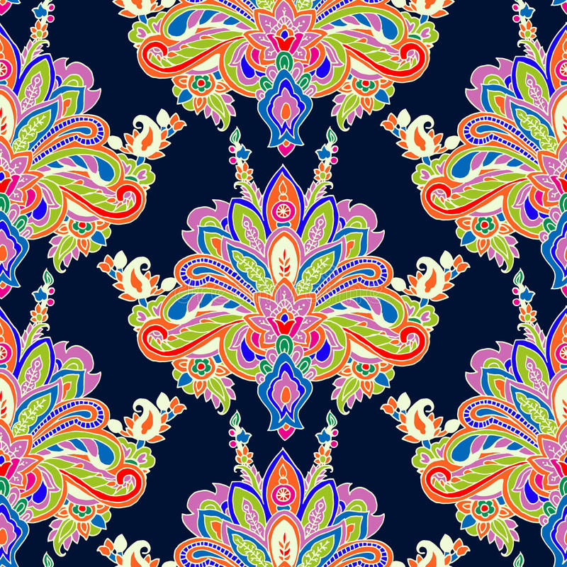 Paisley pattern. Abstract geometric seamless paisley pattern. Traditional oriental ornament. Vibrant colors on navy blue background. Textile design vector illustration