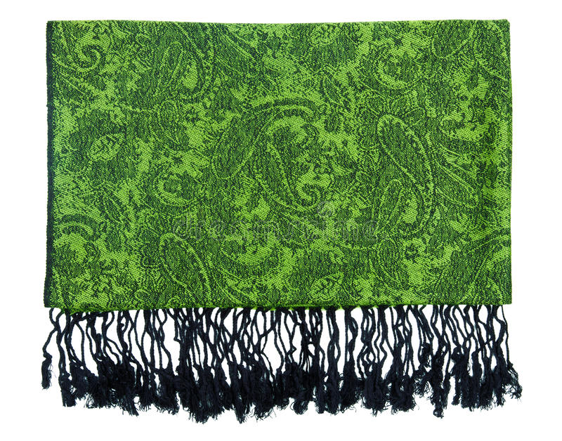 Paisley pattern cashmere scarf. Traditional paisley pattern warm cashmere pashmina isolated on white royalty free stock images