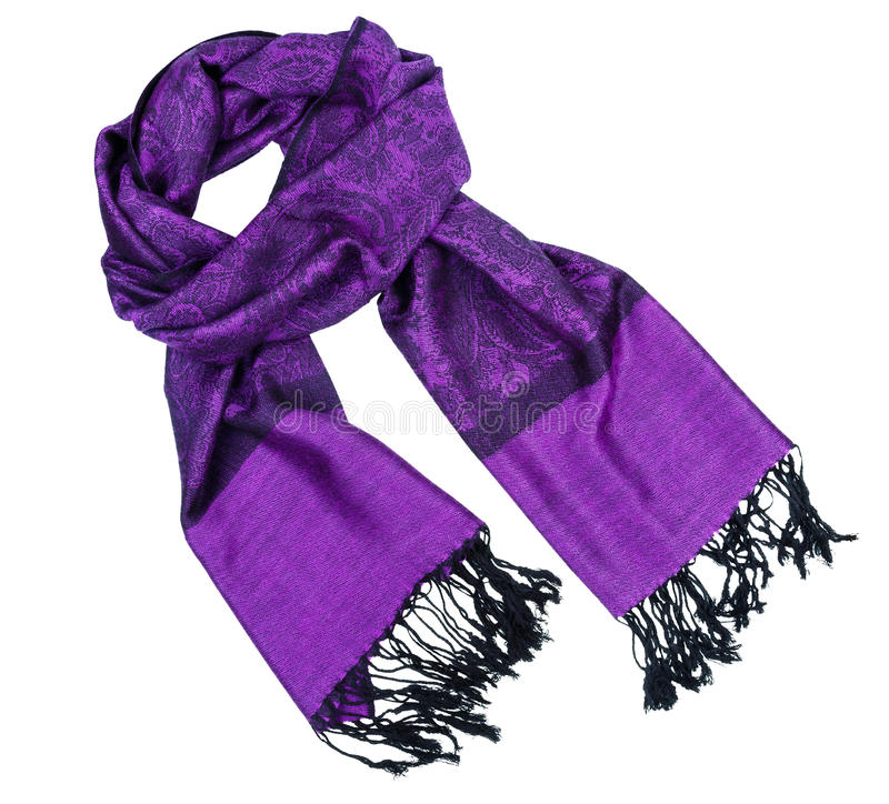 Paisley pattern cashmere scarf. Traditional paisley pattern warm purple cashmere pashmina isolated on white royalty free stock image