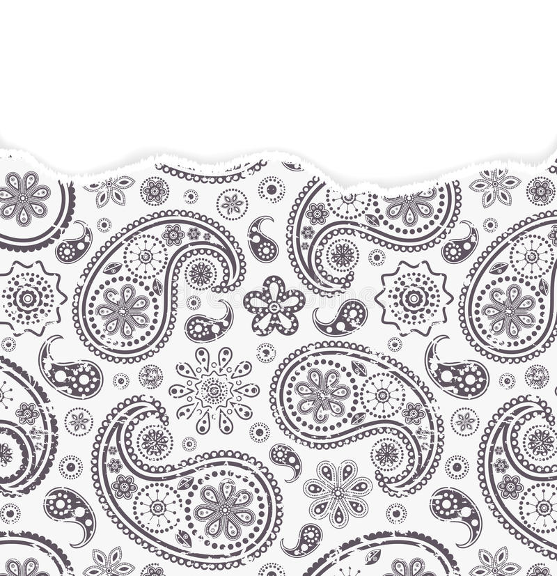 Paisley pattern with torn paper royalty free illustration