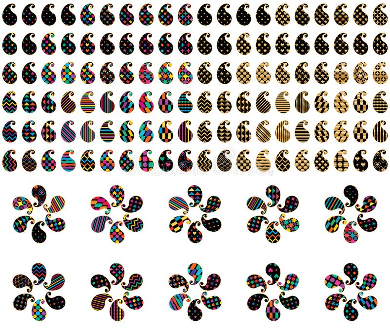 Paisley po prostu kształta set royalty ilustracja