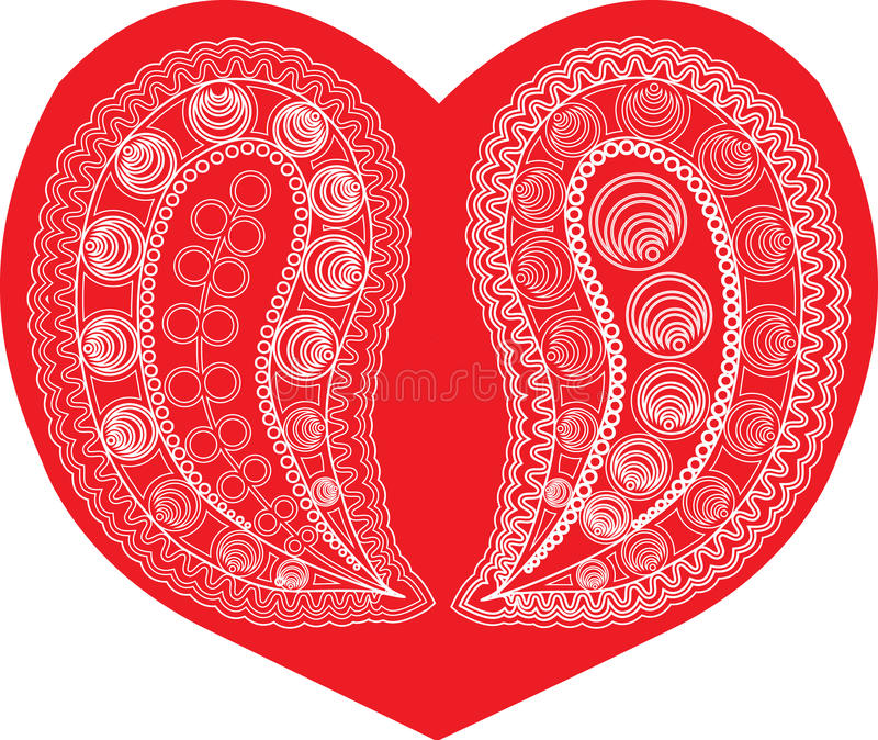Download Paisley on red heart stock vector. Illustration of groovy - 22712616