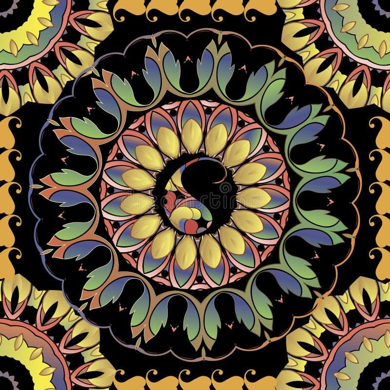 Paisley round kolorowych mandalas bezszwowy wzór Wektorowej elegancji ornamentacyjny kwiecisty tło Etniczna stylowa powtórka deko ilustracji