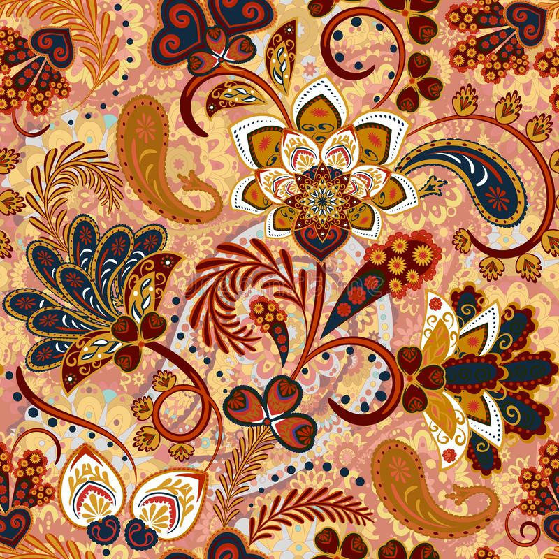 Paisley sömlös modell med blommor i indisk stil Blom- vektorbakgrund vektor illustrationer