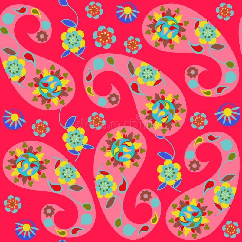 Paisley sömlös modell med gulliga abstrakta Paisley och blommor vektor illustrationer