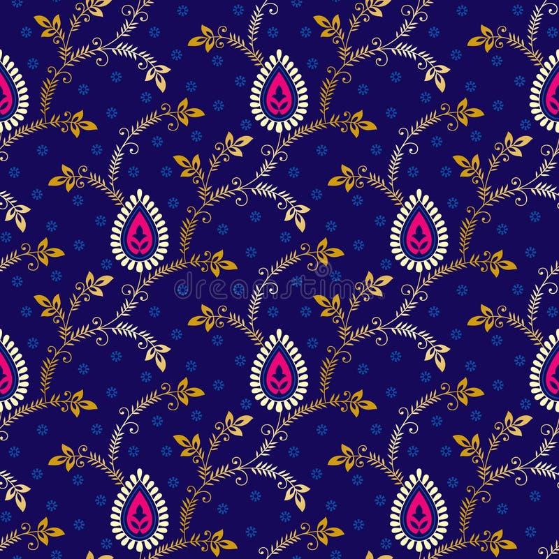 Paisley sömlös modell på blå bakgrund vektor illustrationer
